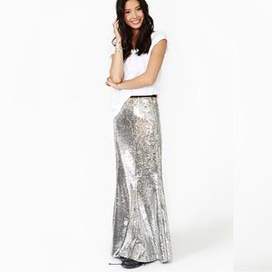 ANTHROPOLOGIE Silver Sequin Cocktail Maxi Skirt